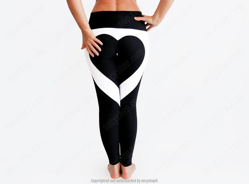 aa3c1b6a627cf Black Leggings / Black Heart Pants / Heart Yoga Pants / Heart | Etsy