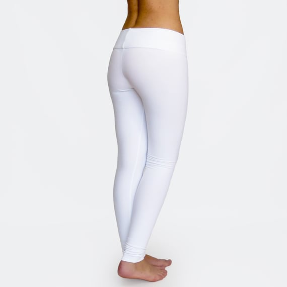 9152787cc92dda White Leggings / White Yoga Pants / Low Rise Leggings / Womens | Etsy