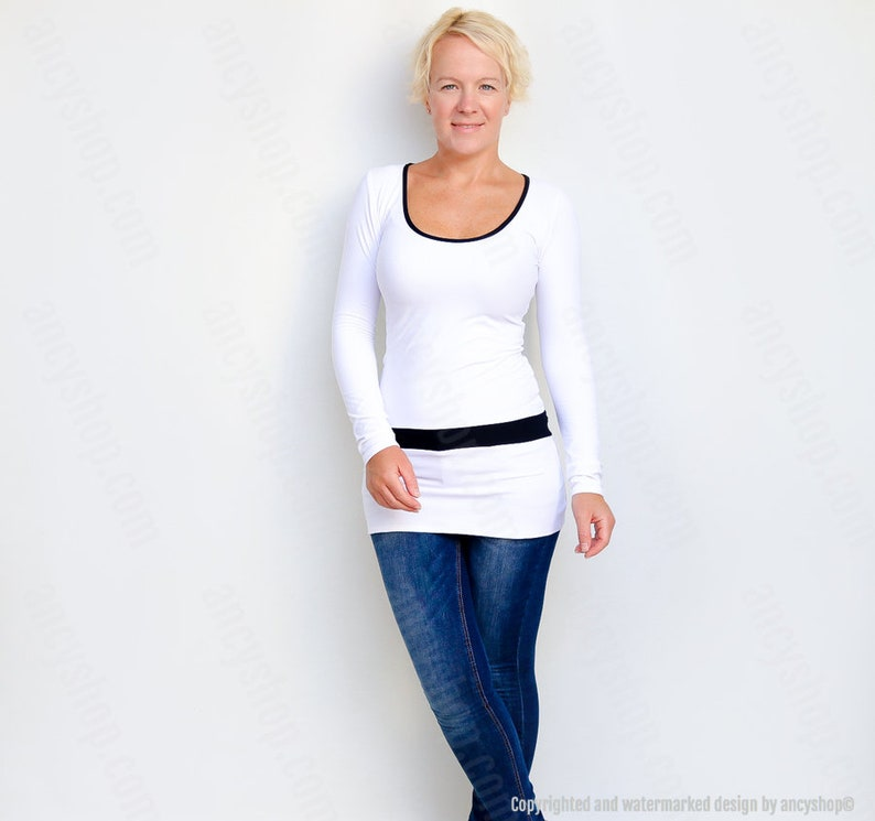 Black and White Top  Womens Tunic Top  Scoop Neck Tunic  Black White Tunic  Unique Long Top  Womens Top  White Tunic Top