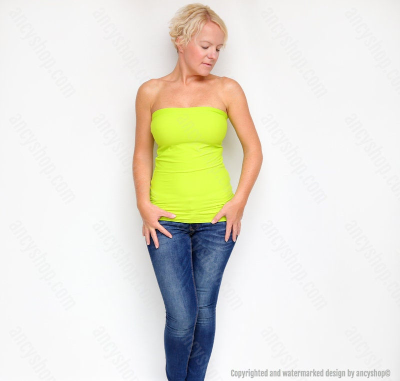ff1a281111 Yellow Green Bandeau Strapless Top