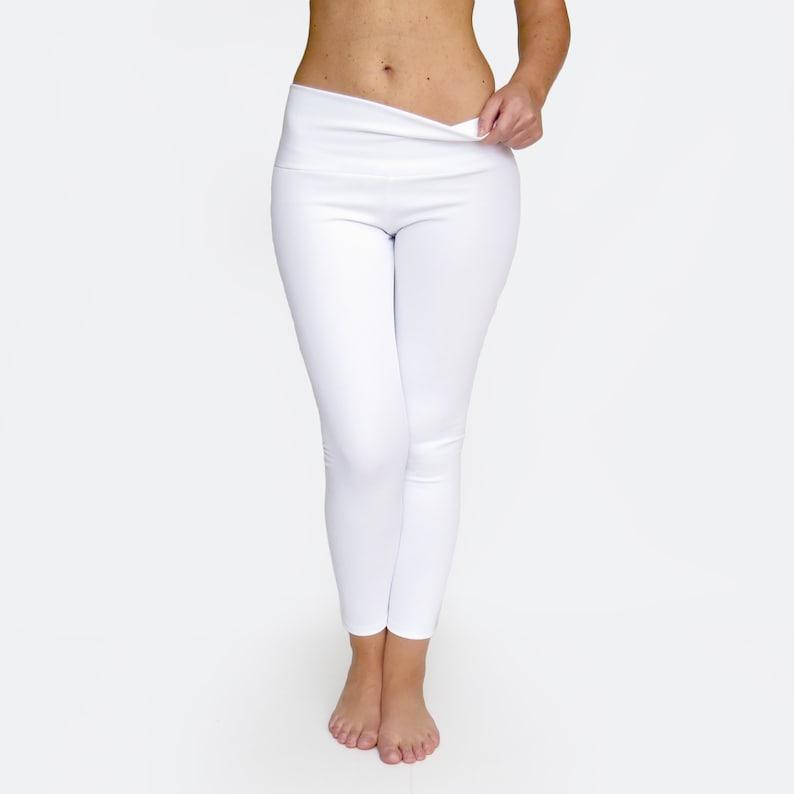 4a5324f0d5c265 High Waist Yoga Pants / White Leggings / Crop White Yoga Pants | Etsy