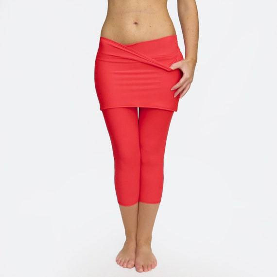 classic chic superior materials full range of specifications Skirted Yoga Pants / Skirted Leggings / Red Yoga Tights / Leggings with  Skirt / Red yoga skirt / Comfy Yoga Pants / Crop Leggings