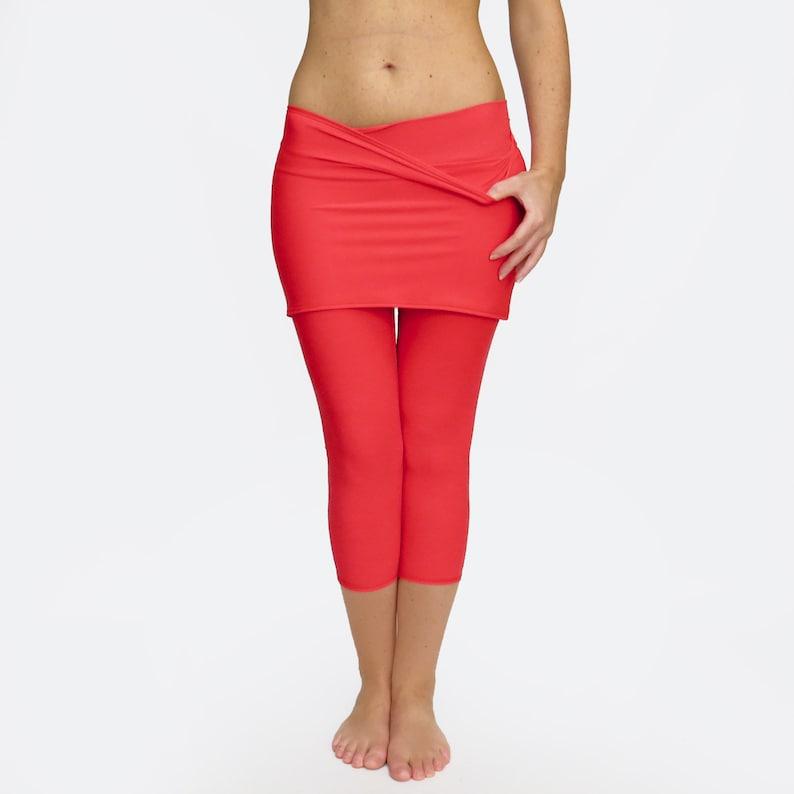 0d9b8dd681 Skirted Yoga Pants / Skirted Leggings / Red Yoga Tights / | Etsy