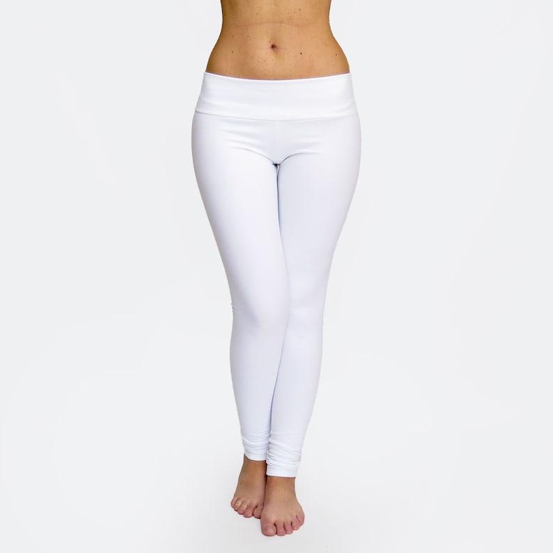 8f77d61ef8a01 White Leggings / White Yoga Pants / Low Rise Leggings / Womens | Etsy