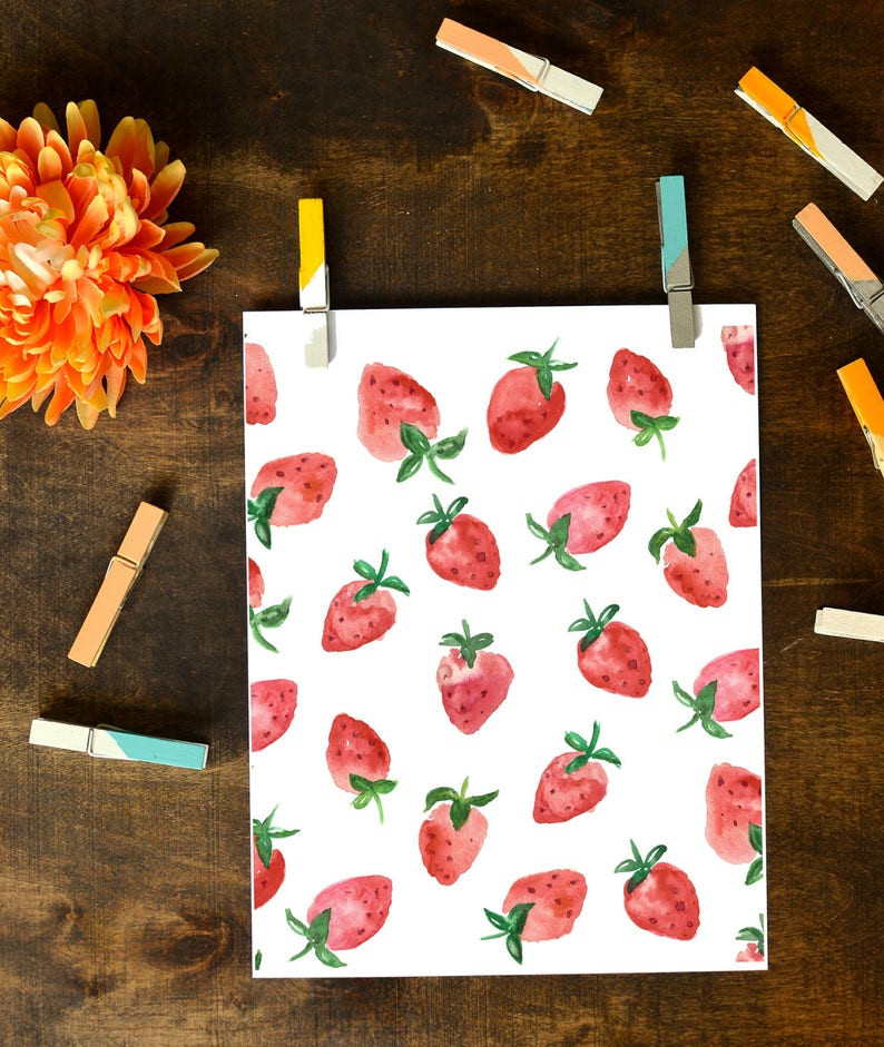 Strawberry Watercolor Print INSTANT DOWNLOAD image 0