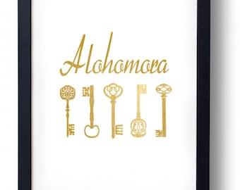Alohomora Gold Print Magic Vintage Keys Art    INSTANT DOWNLOAD
