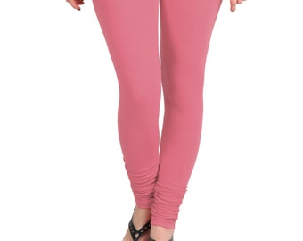 ea15f4c363a173 Coral Pink color - High Quality 4-Way Stretch Cotton Lycra Leggings - Soft  Ladies Bottom - Full Length - Comfort wear - Light weight 903853