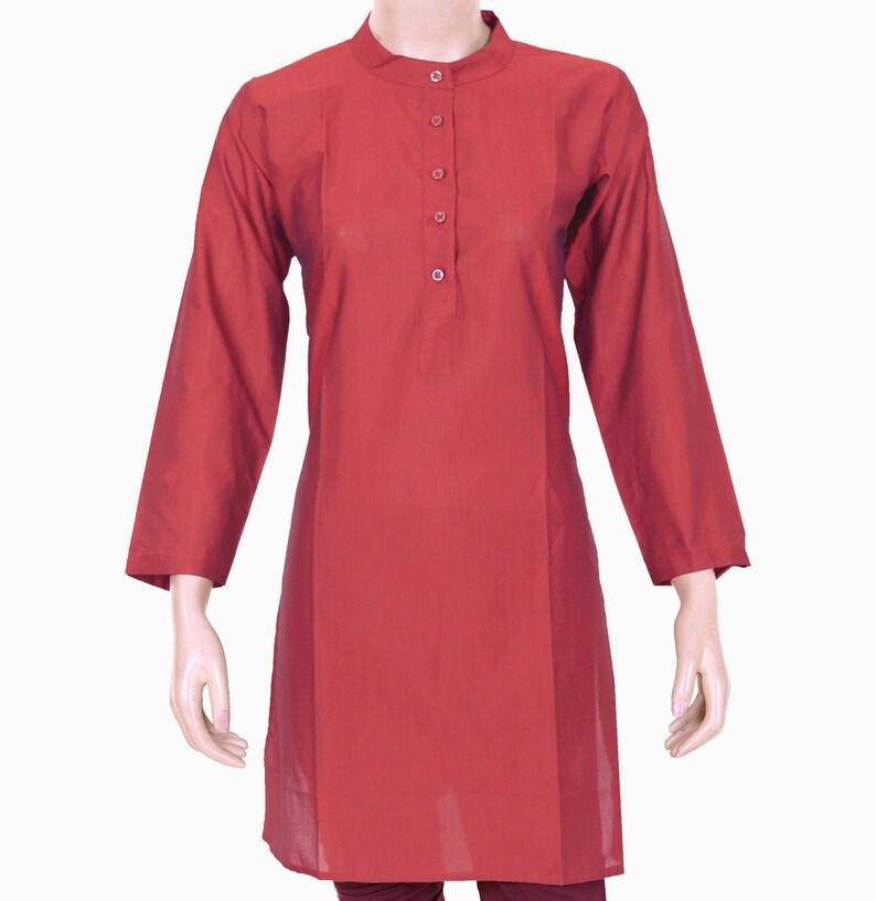 Woman/'s Shirt Mandarin Collar 904112 Ethnic Indian Meroon Plain Kurta Kurti