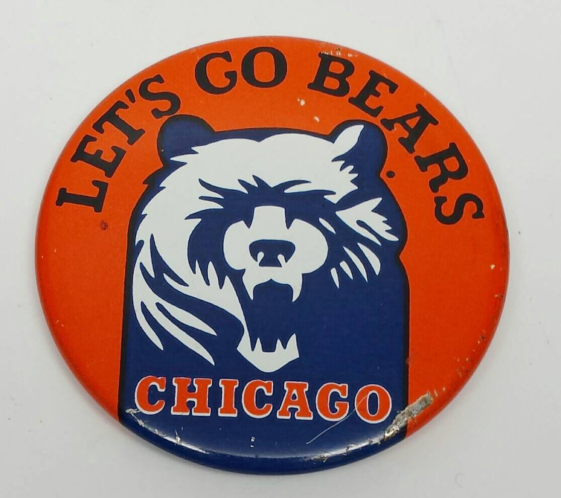 acd4430efcb Vintage Chicago Bears Let's Go Bears Button Pin 1950's | Etsy