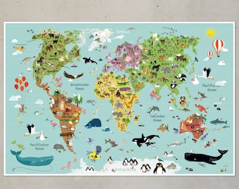 world map for children - german version - illustration animals poster picture
