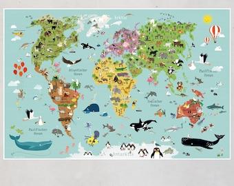 world map children poster nursery decor kids prints baby room illustration
