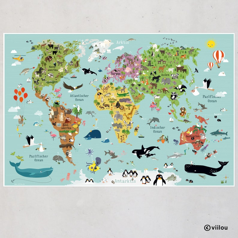 world map children poster kids pictures nursery image 0