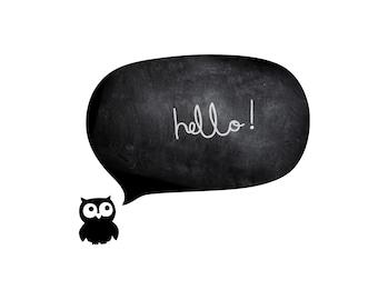 chalkboards stickers nursery wall decals animals wall tattoos OWL SPEECH BUBBLE chalk board