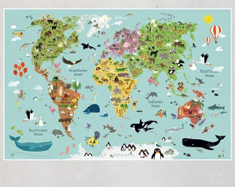 poster world map children prints kids pictures nursery illustration baby room decoration animals world maps