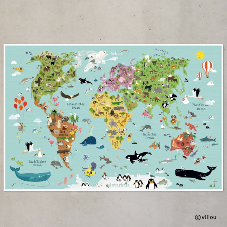 world map for children poster kids decoration illustration image 0