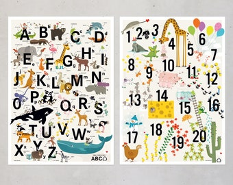 ABC poster COUNTING children posters set animal alphabet prints nursery room illustration children pictures kids