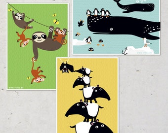 cards SET illustration whales tapirs sloths