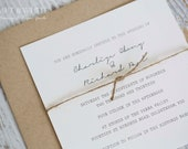 Sample wedding invitation set SUITE 10: Organic rustic wedding invitation suite, natural twine invitation set, simplistic eco invite