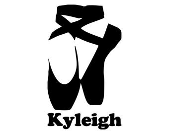 313d98d860a7 BALLET SHOES with Personalized Name Vinyl Decal Sticker - Pointe Slippers   Free Shipping