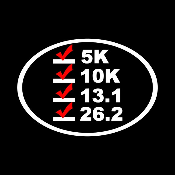 Running Distance oval decals 5k 8k 10k 15k 20k car window 26.2 13.1 marathon tri