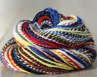 Hand spun yarn, 56 gr 117 m, Sport weight 2-ply, 100% Merino, Red, Blue, Yellow, Black, White, Piet Mondriaan, Basic colors, 2 Oz, 128 yards