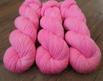 Bubble Gum ~Gold Sparkle Sock~ SW Merino/Nylon Hand dyed sock yarn,100gr Fingering weight wool