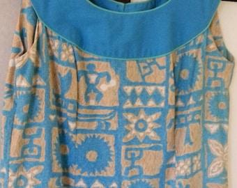 5860caf05ad1 Vintage Hawaiian Muu Muu Luau Dress by Mamo Howell Size 8 10 Petroglyph  Print