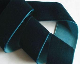 3 yards 1.5 inches Velvet Ribbon in Dark Teal RY15-065