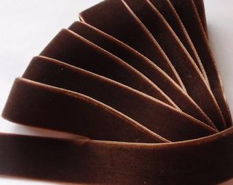 5 yards 7/8 inches Velvet Ribbon in Black Cofffee RY78-118
