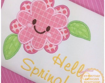 Smiling Flower 2 Machine Embroidery Applique Design