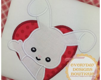 Valentine Bunny Machine Embroidery Applique Design