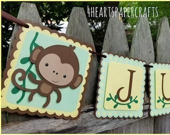 Monkey Banner, Monkey Birthday, Our Little Monkey