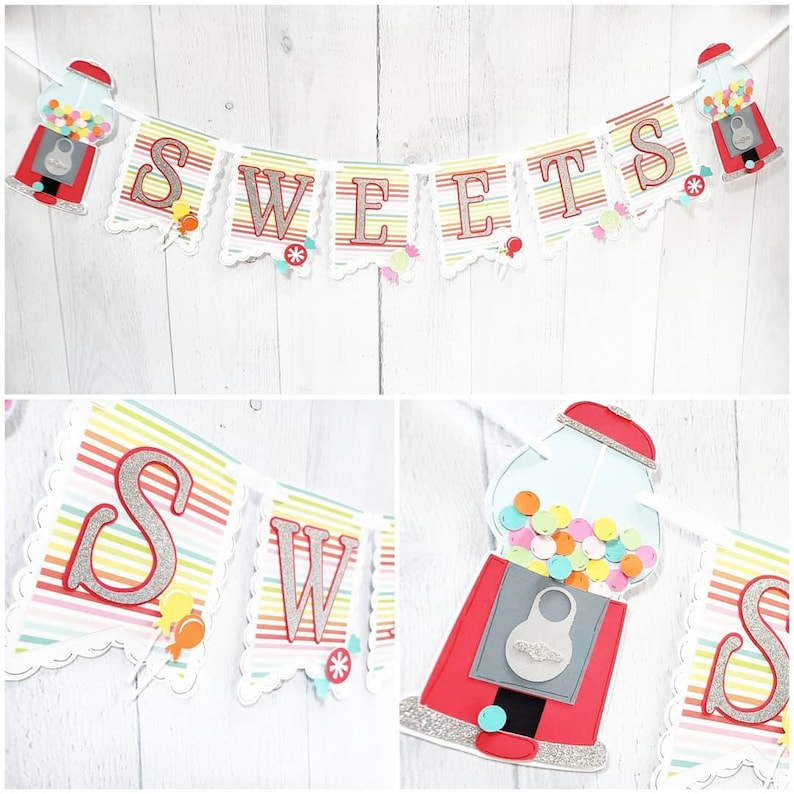 Gumball Machine Candy Themed Banner Candy Birthday