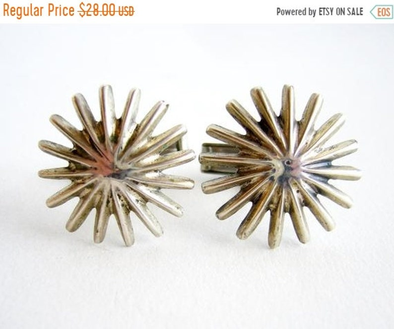 Winter Sale Mid Century Modernist Silver Tone Metal Starburst image 0