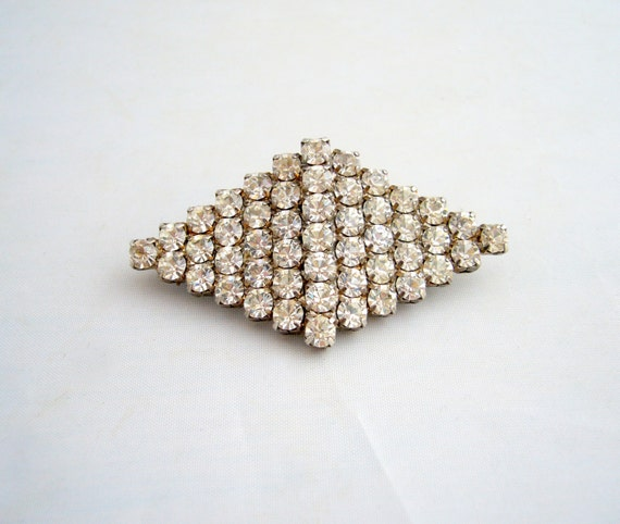 1950's Diamond Shape Clear Rhinestone Brooch