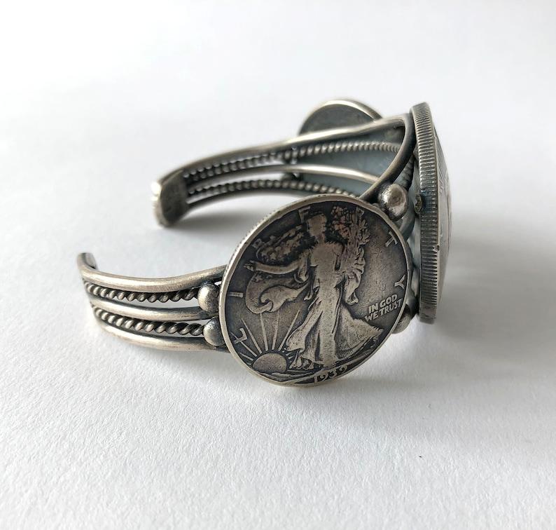 Summer Sale Buffalo Dancer Native American Sterling Silver Liberty Peace Walking Coin Cuff Bracelet