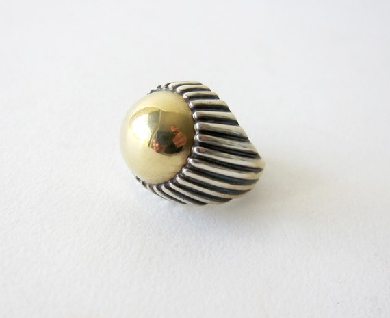 1970s 14K Gold Sterling Silver Dome Ring