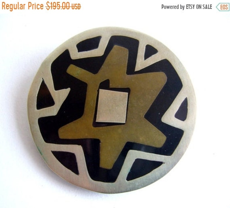 Winter Sale Mexican Modernist Sterling Brass  Onyx Abstract image 0