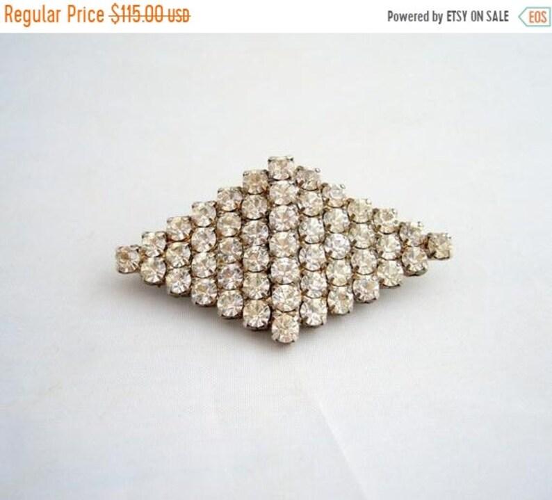 Winter Sale 1950's Diamond Shape Clear Rhinestone Brooch image 0