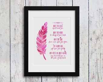 Irish Blessing / Feather Version / 8x10 inch / Home Decor / Inspirational Quotes / Nursery Art / Digital Download