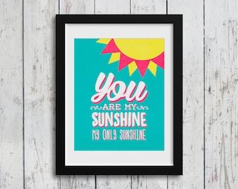You Are My Sunshine Nursery Wall Art Prints / 8x10 Digital Download / baby boy / baby girl / boy's room decor / girl's room decor / kids art
