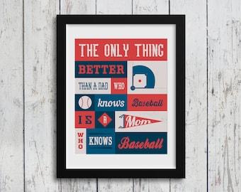 A Mom Who Knows Baseball / Typography Art / 8x10 Digital Download / Home Decor / Baseball Quotes / Baseball Print / Baseball Mom