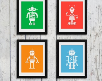 Digital Download Robot Nursery Wall Art Set of 4 / 8x10 inch / baby boy / boy's room decor / kids art / digital download