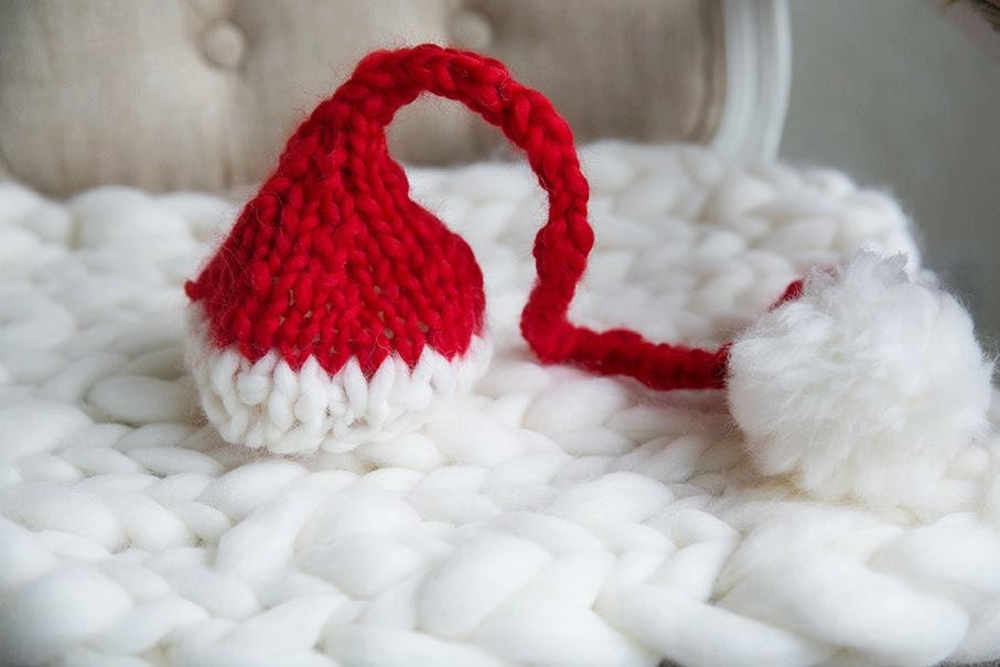 ee53dbb26a3 Baby Christmas Santa elf pom pom hat photo prop
