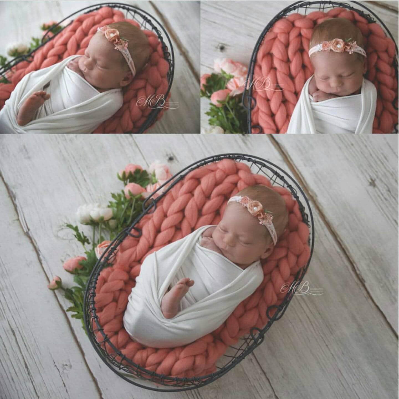 Newborn Photography Prop Baby Blanket Salmon Pink