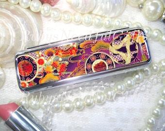 Oriental Lipstick Case Holder With Mirror Lipbalm Birthday Gift Best Friend Japanese Floral
