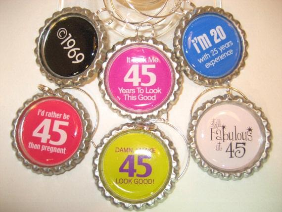 Wine Glass CharmsBottlecap Charms 45th Birthday