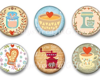 Kitchen Magnets, Button Magnets, Fridge Magnets, Retro Coffee Magnets, 1 1/4 inch, Best friends gift, Hostess Gift, SET OF 6.