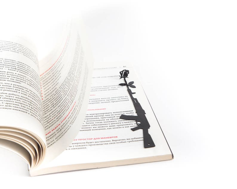 Bookmark Gun and a Flower // Make peace, not war // unique design bookmark  // stylish present for a book lover // minimalist book accessory