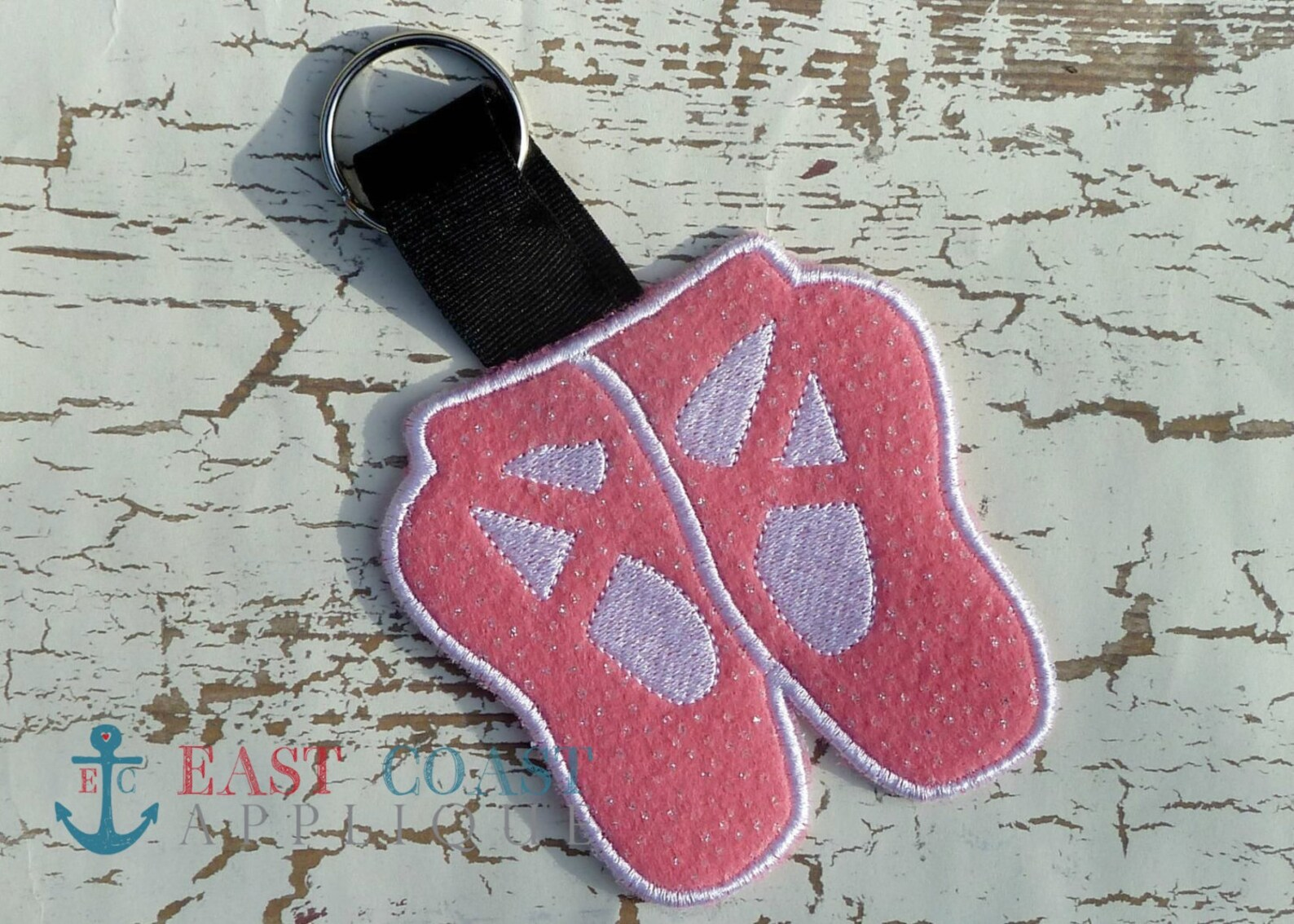 ballet bag tag machine embroidery design